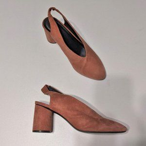 COS   Round heel slingback pumps in terracotta